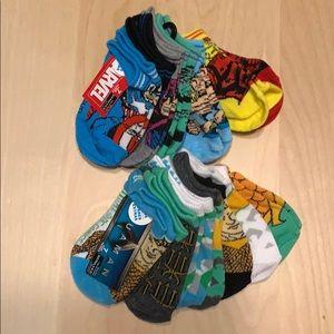 2 packs of 7 socks marvel aqua man
